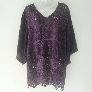JOHNNY WAS Embroidered Oversized Tunic Top Blouse